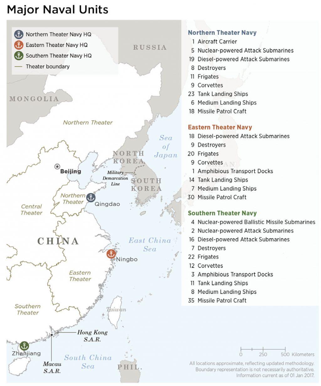 Principais unidades navais da China e suas bases