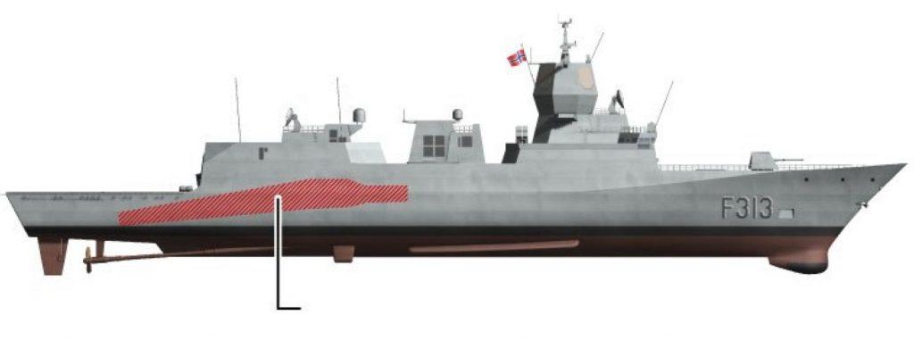 Rombo no casco da fragata norueguesa