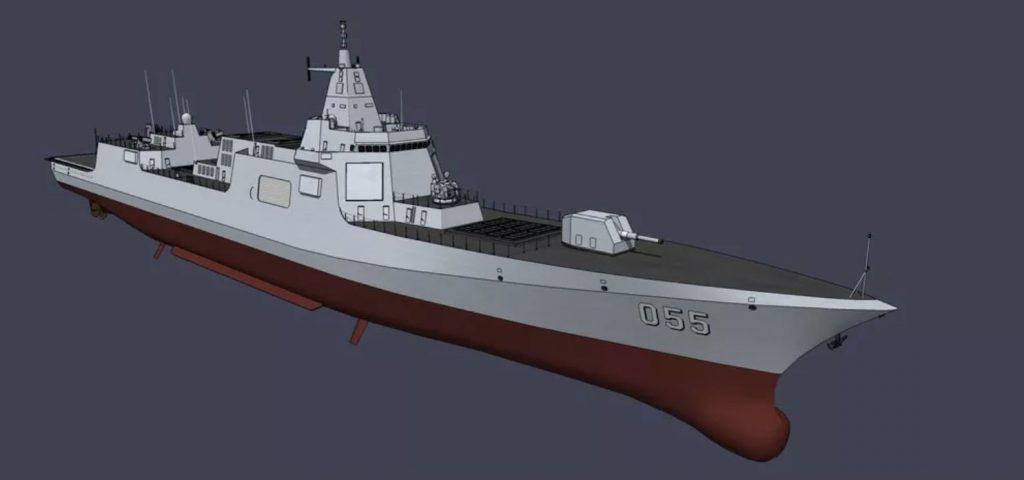 Concepção em 3D do destróier Type 055 equipado com Railgun