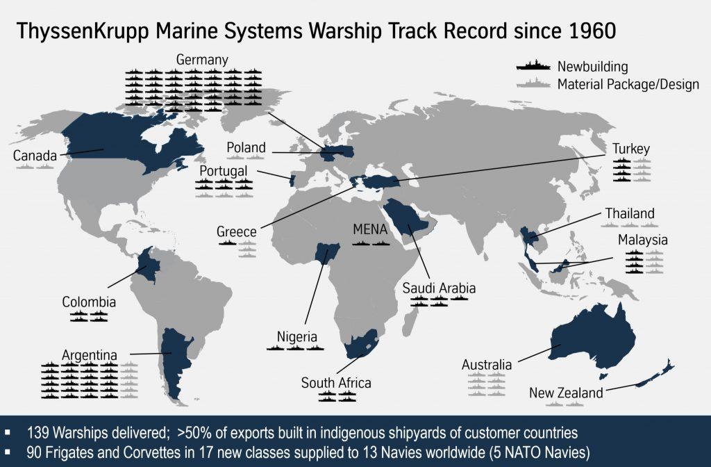 Navios de guerra entregues pela ThyssenKrupp Marine Systems desde 1960
