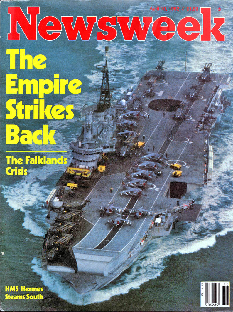 Capa da revista Newsweek com o HMS Hermes a caminho do Atlântico Sul em abril de 1982