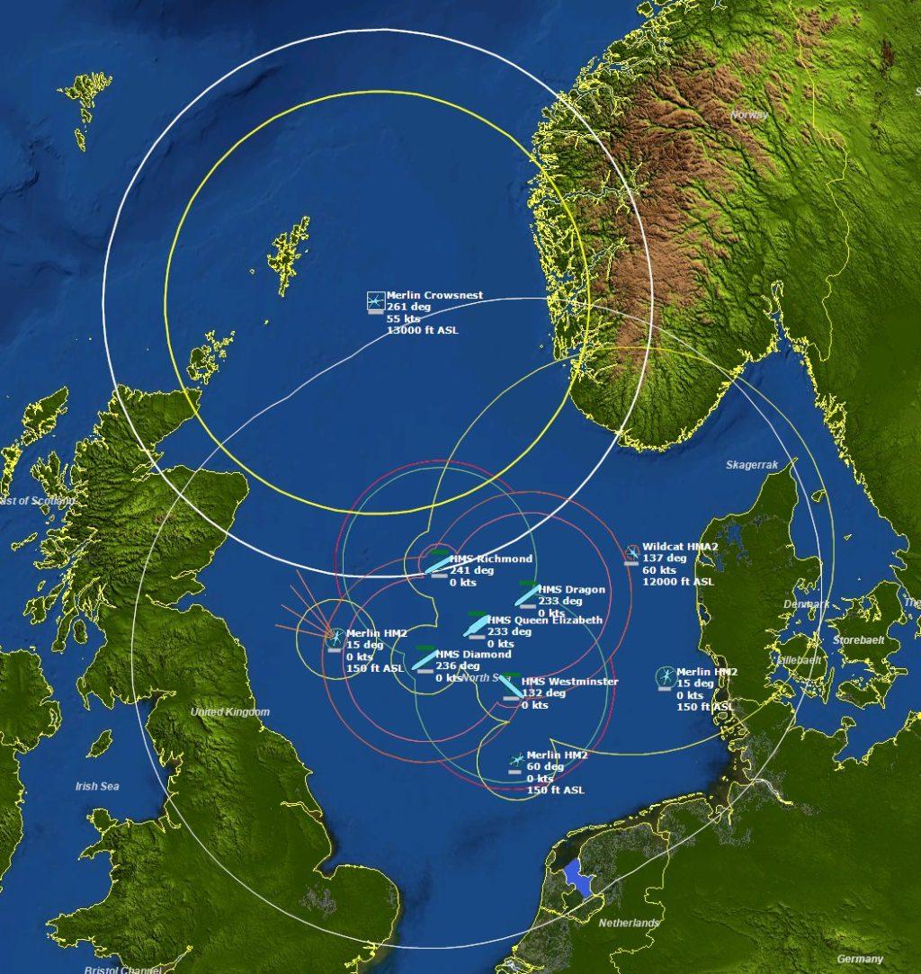 Tela do simulador Command Modern Operations mostrando a cobertura do Merlin Crowsnest operando com o Carrier Strike