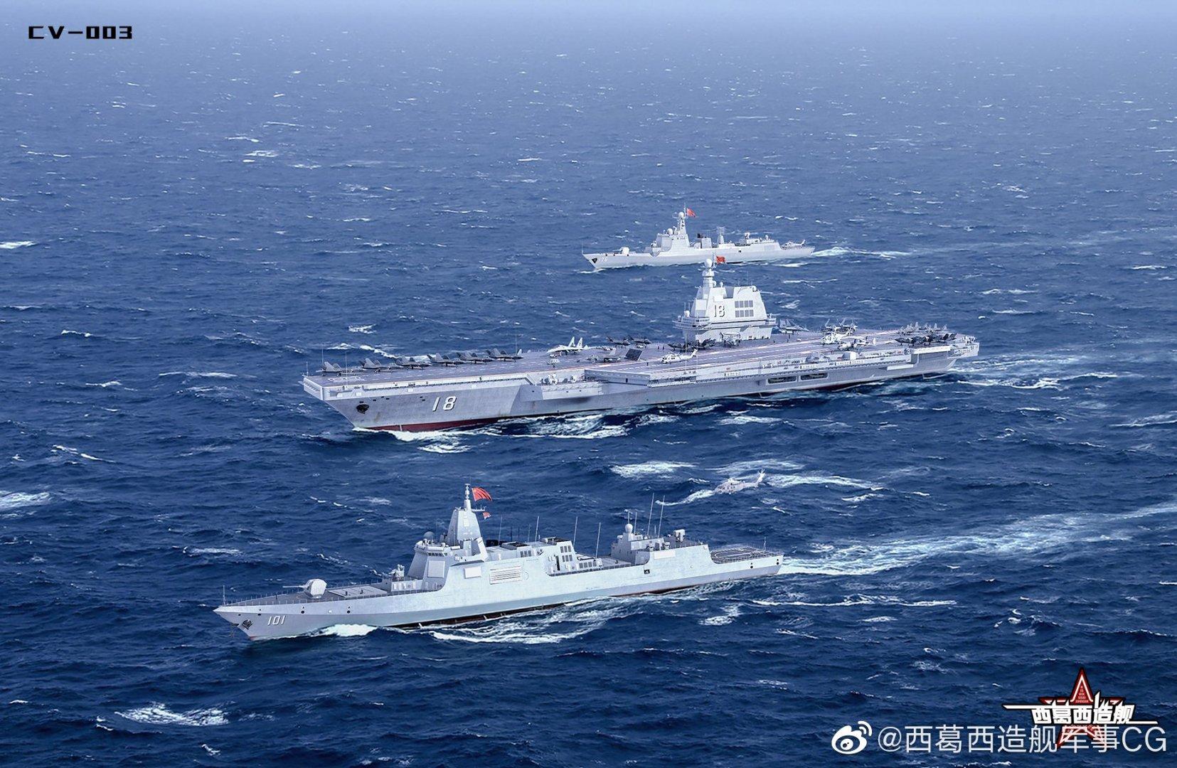 Concepção artística do futuro porta-aviões CV-18 (Type 003), e destróieres Type 055 e Type 052D