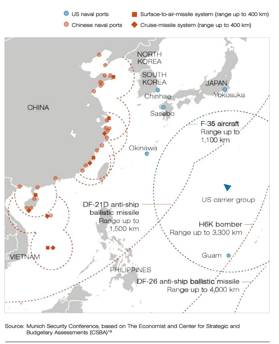 Cenário de combate no Mar da China. Observar o alcance do bombardeiro H-6K