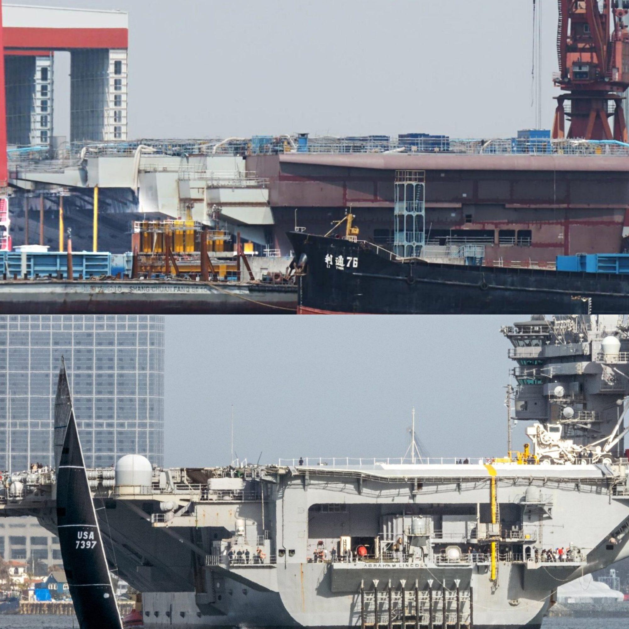 Type 003 acima e um porta-aviões classe Nimitz abaixo